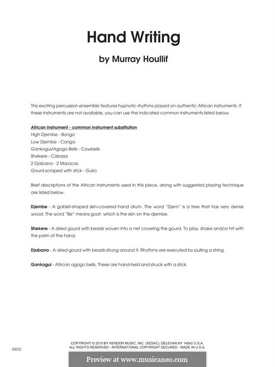 Hand Writing - Full Score: Hand Writing - Full Score by Murray Houllif
