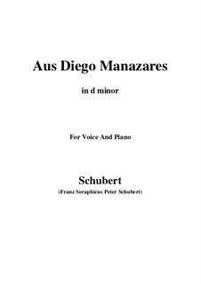 Aus Diego Manazares, D.458: D minor by Franz Schubert