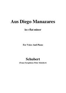 Aus Diego Manazares, D.458: E flat minor by Franz Schubert