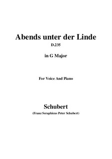 Abends unter der Linde (Evening Beneath the Linden Tree), D.235: G Major by Franz Schubert