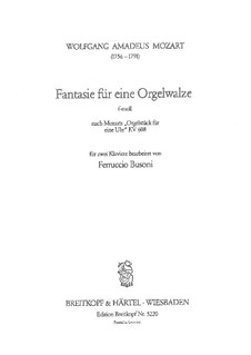 Fantasia for Mechanical Organ in F Minor, K.608: Version for two pianos four hands by Wolfgang Amadeus Mozart