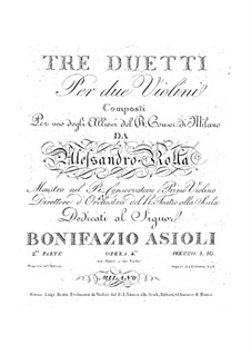 Three Duos for Two Violins, BI 184, 160, 137 Op.4: Three Duos for Two Violins by Alessandro Rolla