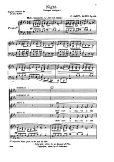 Night, Op.114: Piano-vocal score by Camille Saint-Saëns