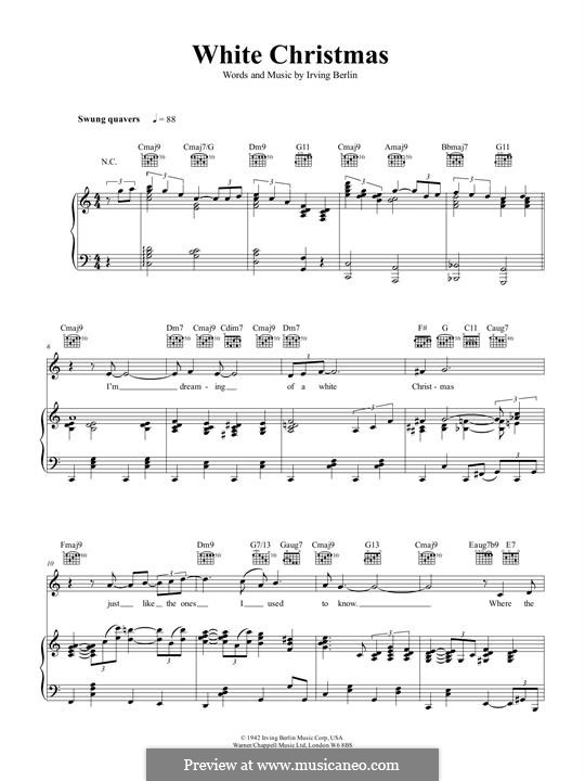 Piano-vocal version: For voice and piano by Irving Berlin