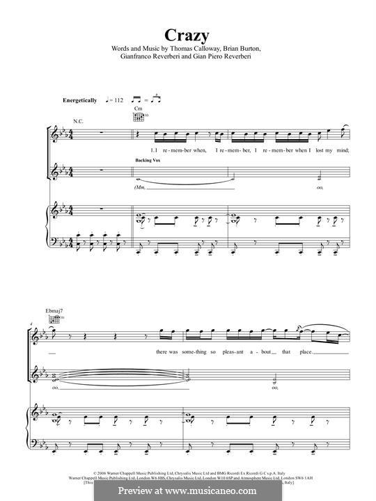 Crazy (Gnarls Barkley): For voice and piano by Brian Burton, Gian Piero Reverberi, Gianfranco Reverberi, Thomas Callaway