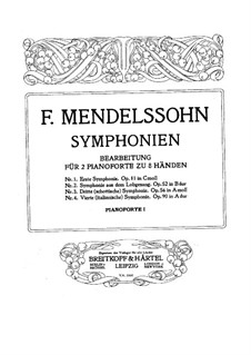 Symphony No.3 in A Minor 'Scottish', Op.56: For two pianos eight hands – piano I part by Felix Mendelssohn-Bartholdy