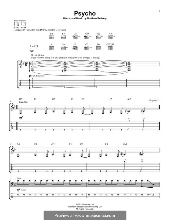 Psycho (Muse): For guitar with tab by Matthew Bellamy