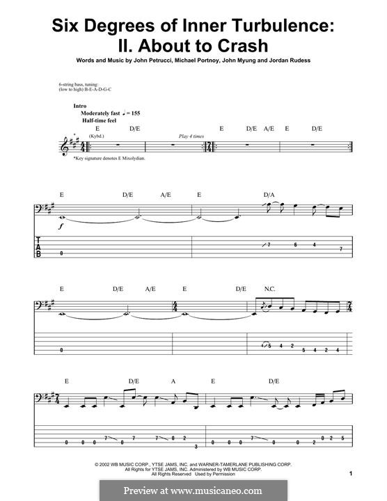 Six Degrees of Inner Turbulence (Dream Theater): II. About To Crash, for bass guitar with tab by Mike Portnoy, John Petrucci, John Myung, Jordan Rudess