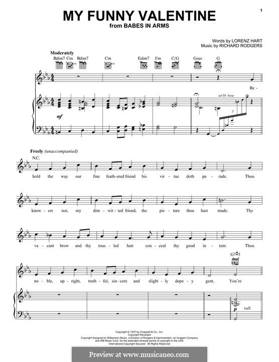 My Funny Valentine: For voice and piano (or guitar) by Richard Rodgers