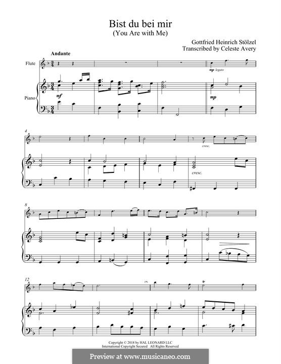 No.25 Bist du bei mir (You Are with Me), Printable scores: For flute and piano by Johann Sebastian Bach
