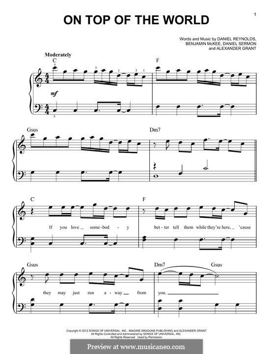 On Top of the World (Imagine Dragons): For piano by Alexander Grant, Benjamin McKee, Daniel Reynolds, Daniel Sermon
