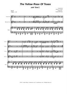 The Yellow Rose Of Texas (with 'Dixie'): For saxophone quartet and piano by folklore, Daniel Decatur Emmett