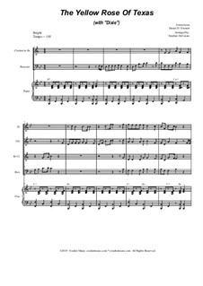 The Yellow Rose Of Texas (with 'Dixie'): For woodwind quartet and piano by folklore, Daniel Decatur Emmett