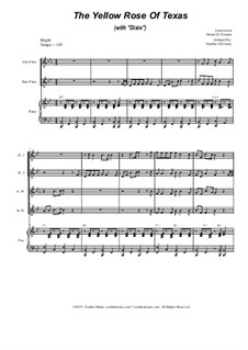 The Yellow Rose Of Texas (with 'Dixie'): For flute choir and piano by folklore, Daniel Decatur Emmett