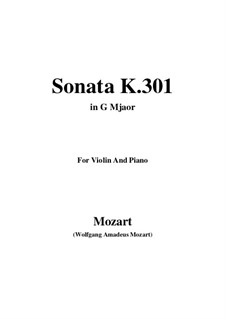 Sonata for Violin and Piano No.18 in G Major, K.301: Score, parts by Wolfgang Amadeus Mozart