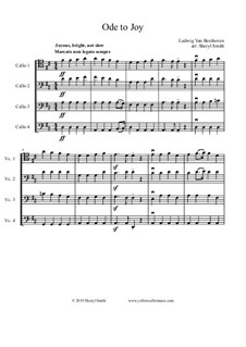 Ode to Joy: For intermediate cello quartet (four cellos) by Ludwig van Beethoven