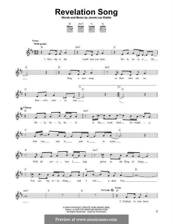 Revelation Song (Passion): For guitar by Jennie Lee Riddle