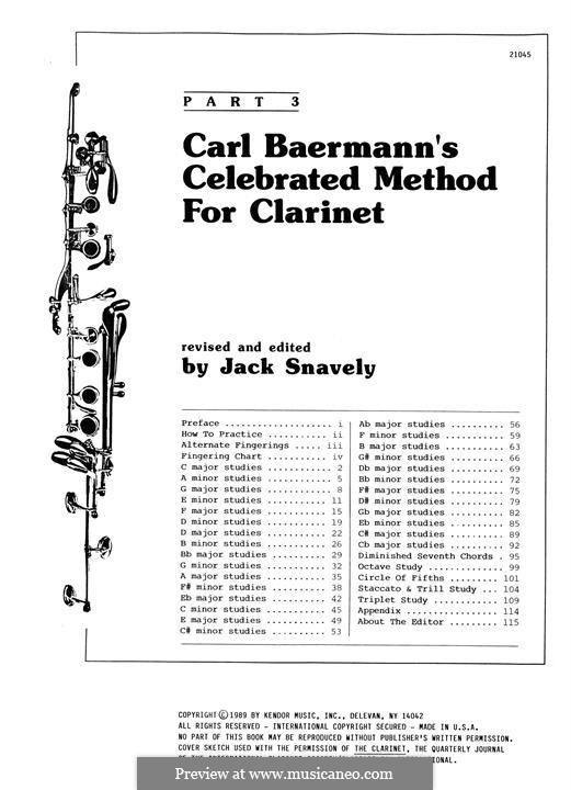 Celebrated Method for Clarinet, Part 3: Celebrated Method for Clarinet, Part 3 by Carl Baermann