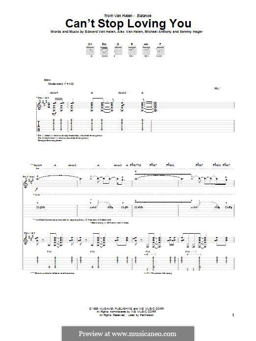 Can't Stop Loving You (Van Halen): For guitar with tab by Alex Van Halen, Edward Van Halen, Michael Anthony, Sammy Hagar