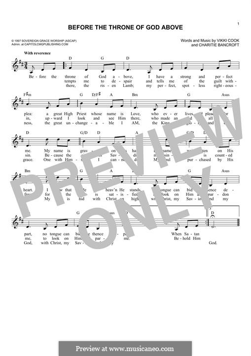 Before the Throne of God Above: Melody line by Vickie Cook