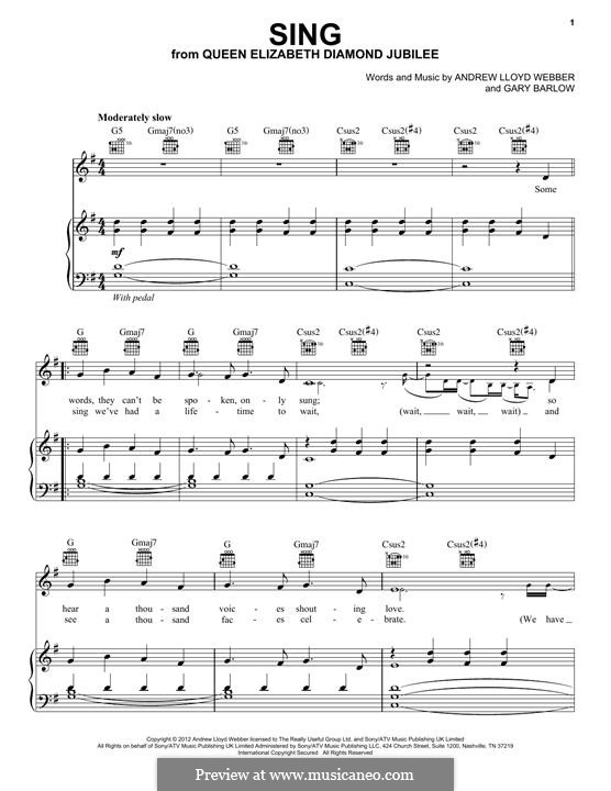 Sing: For voice and piano (or guitar) by Andrew Lloyd Webber, Gary Barlow