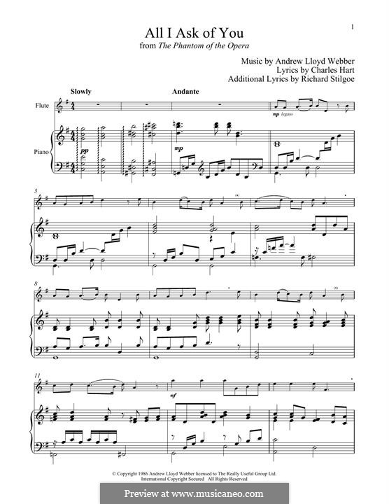 All I Ask of You: For flute and piano by Andrew Lloyd Webber