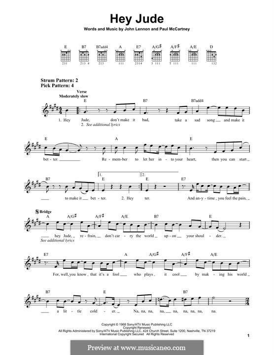 Hey Jude (The Beatles): For guitar by John Lennon, Paul McCartney