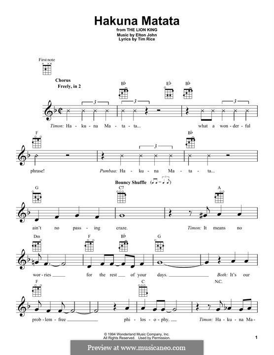 Hakuna Matata (from The Lion King): For ukulele by Elton John