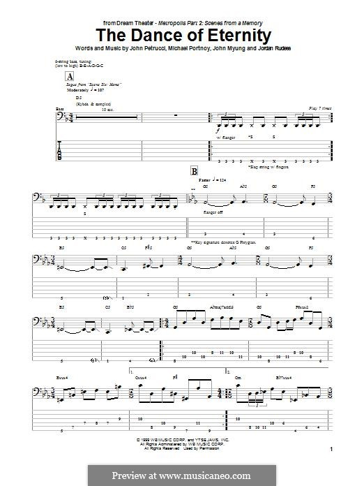The Dance of Eternity (Dream Theater): For bass guitar with tab by Mike Portnoy, John Petrucci, John Myung, Jordan Rudess