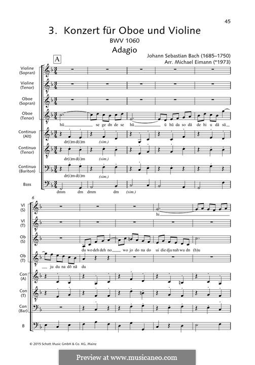 Concerto for Two Harpsichords and Strings No.1 in C Minor, BWV 1060: Adagio, for choir by Johann Sebastian Bach