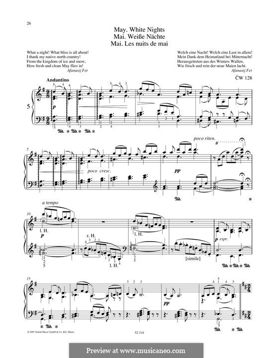No.5 May (White Nights): For piano by Pyotr Tchaikovsky
