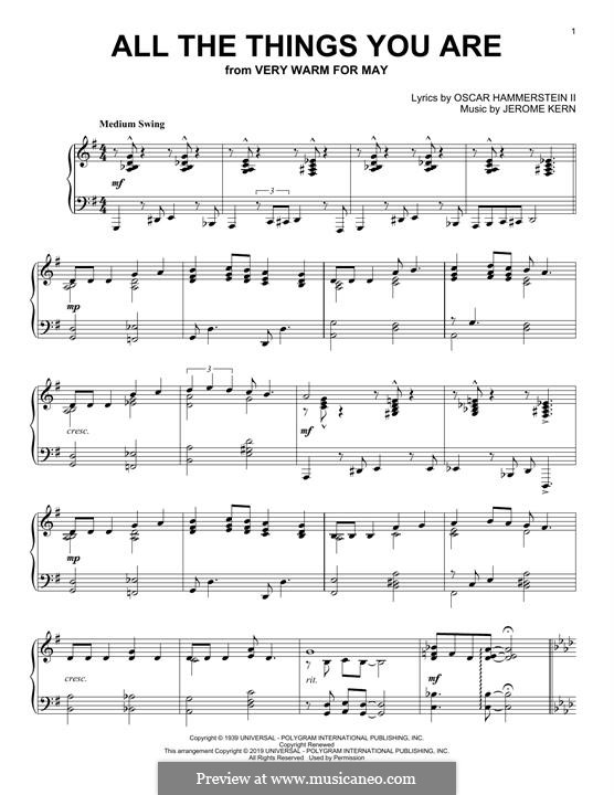 All the Things You are, for Piano: For a single performer by Jerome Kern
