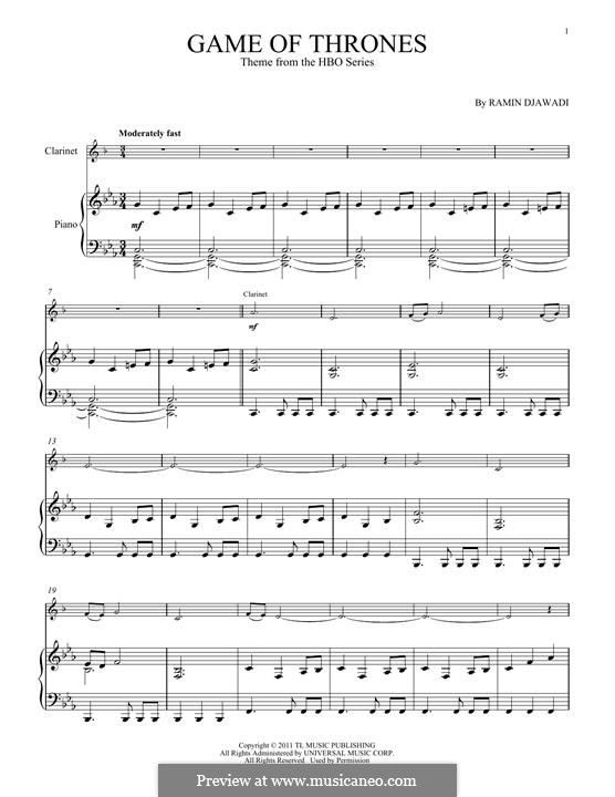Game of Thrones: For clarinet and piano by Ramin Djawadi