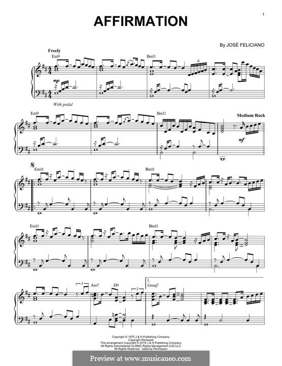 Affirmation: For piano by José Feliciano