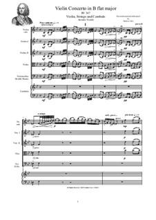Concerto for Violin, Strings and Cembalo in B flat major, RV 367: Score, parts by Antonio Vivaldi