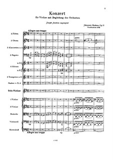 Concerto for Violin and Orchestra in D Major, Op.77: Full score by Johannes Brahms