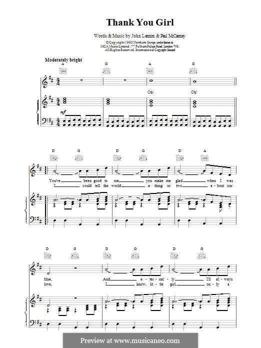 Thank You Girl (The Beatles): For voice and piano (or guitar) by John Lennon, Paul McCartney