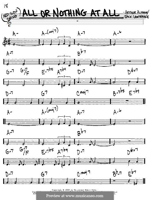 All or Nothing at All: For guitar with tab by Arthur Altman, Jack Lawrence