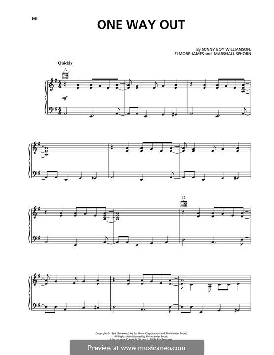 One Way Out (Allman Brothers Band): For voice and piano (or guitar) by Elmore James, Marshall Sehorn