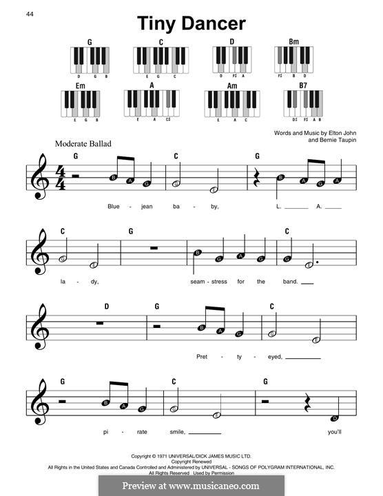Tiny Dancer: For piano by Elton John
