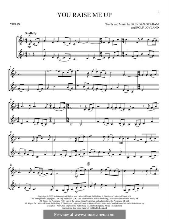You Raise Me Up: For two violins by Brendan Graham, Rolf Løvland
