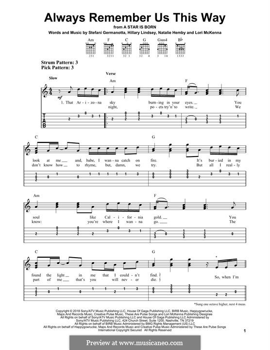 Always Remember Us This Way (from A Star is Born): For guitar by Hillary Lindsey, Lori McKenna, Natalie Hemby, Stefani Germanotta
