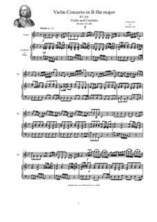 Concerto for Violin, Strings and Cembalo in B flat major, RV 364: Version for violin and cembalo (or piano) by Antonio Vivaldi