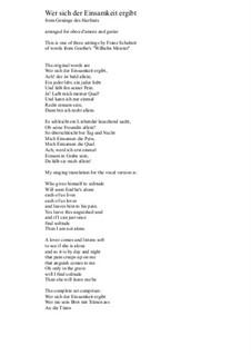 No.1 Wer sich der Einsamkeit ergibt: For oboe d'amore and guitar by Franz Schubert
