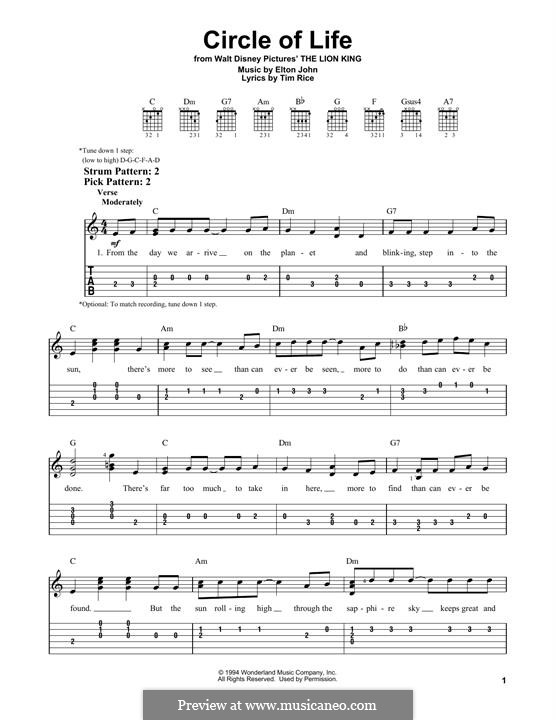Circle of Life (from The Lion King), instrumental version: For guitar with tab by Elton John