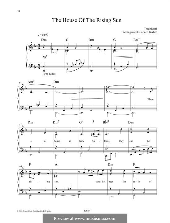 The House of the Rising Sun (The Animals): For piano by folklore