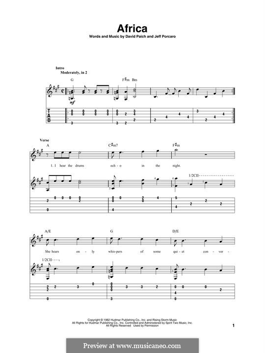 Africa (Toto): For guitar with tab by David Paich, Jeff Porcaro