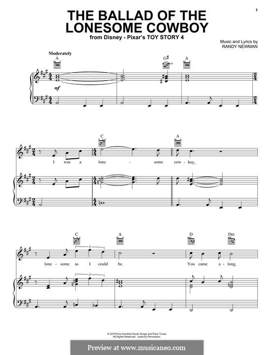 The Ballad of The Lonesome Cowboy (from Toy Story 4): For voice and piano (or guitar) by Randy Newman