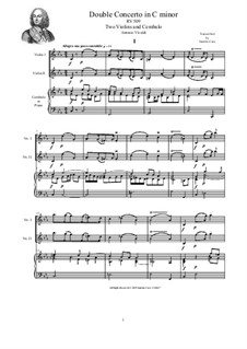 Concerto for Two Violins and Strings in C Minor, RV 509: Version for two violins and cembalo (or piano) by Antonio Vivaldi