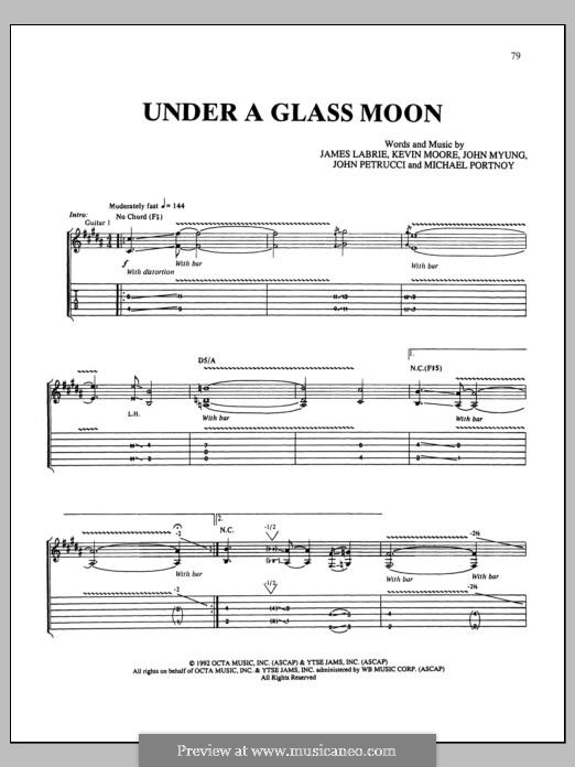 Under a Glass Moon (Dream Theater): For guitar with tab by Mike Portnoy, John Petrucci, John Myung, Kevin LaBrie, Kevin Moore